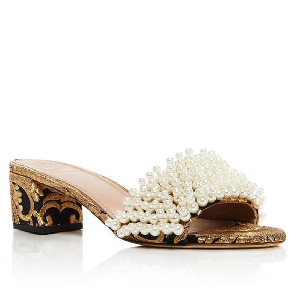 bbde08aa7ff Tatiana pearl embellished brocade slide sandals